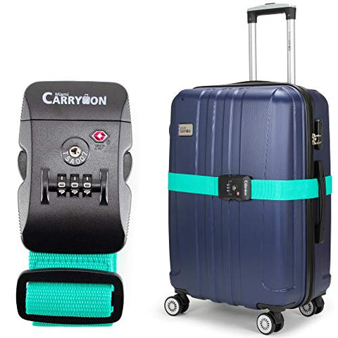 Miami CarryOn Adjustable Luggage Strap with a Built-in TSA Combination Lock (Light Blue)