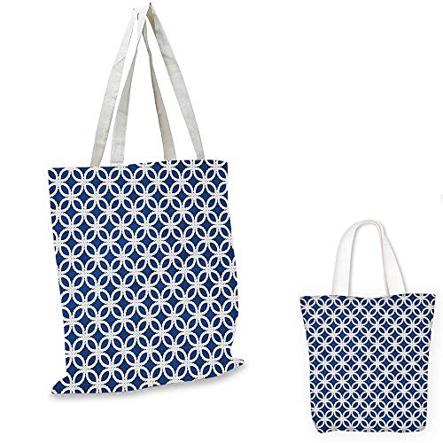 Navy canvas messenger bag Woven Marine Life Inspired Ropes in Square Shapes Geoemtric Grid Art