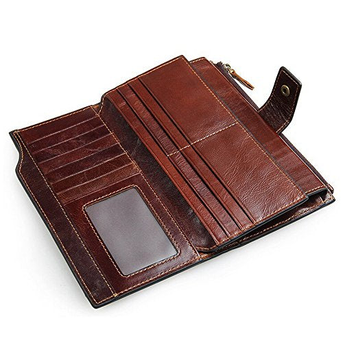 SEALINF Large Capacity Men's Leather Clutch Handbag Checkbook Wallet Phone Holder (brown)