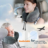 ZAMAT Breathable & Comfortable Memory Foam Travel Neck Pillow, U-Shaped Adjustable Airplane Car Flight Pillow, 360-Degree Head Support, Spandex Case Cover | Travel Kit with Earbuds & Eye Mask (Gray)