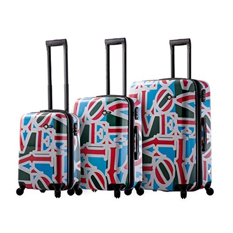 Mia Toro Love Collection Hard Side Spinner Luggage 3PC Set, LCG Green