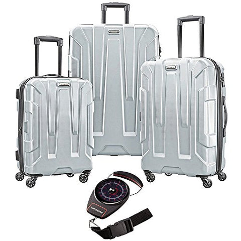 Samsonite Centric 3Pc Hardside Luggage Set Silver With Portable Luggage Scale