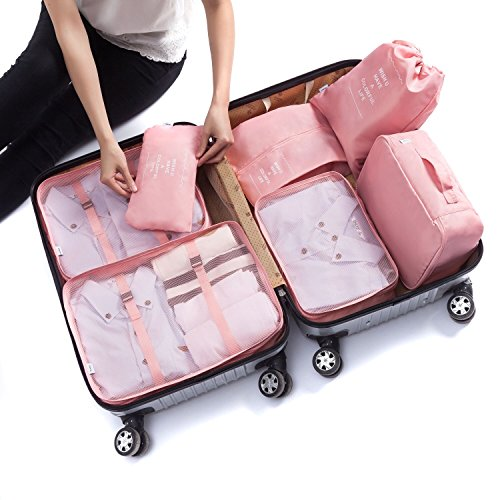 7 Pcs Luggage Packing Organizers Packing Cubes Set For Travel (Pink)