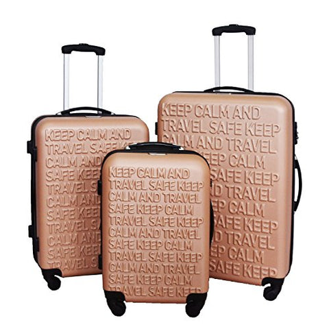 3 Pc Luggage Set Durable Lightweight Spinner Suitecase Lug3 Ss386A Champagne