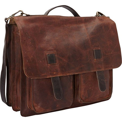 Sharo Leather Bags Vintage Two Toned Executive Messenger Briefcase (Two-Tone
