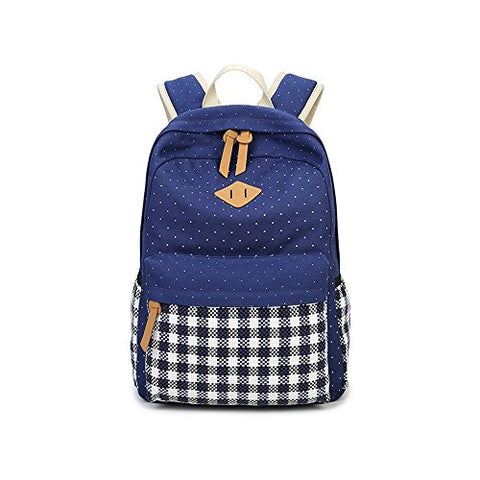 S Kaiko Grid Pattern Canvas Backpack School Backpack For Women And Men School Bag Daypack