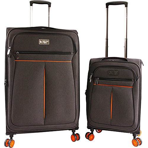 ORIGINAL PENGUIN Luggage Colfax 2 Piece Set Expandable Suitcase with Spinner Wheels, Black Crosshatch/Orange