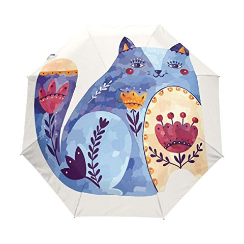 Rain Umbrella Automatic Windproof Foldable Umbrella Ethnic Cat