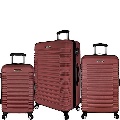 Elite Luggage Tustin 3 Piece Hardside Spinner Luggage Set (Red)