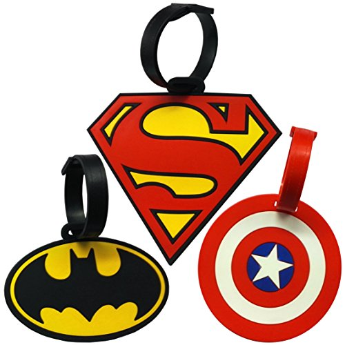 Super Heroes Theme Luggage Tag/Id Tag Set, Set Of 3