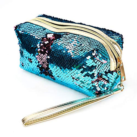 Buorsa Fashion Double Color Reversible Magical Sequins Handbag Glitter Pencil Case Cosmetic Bag