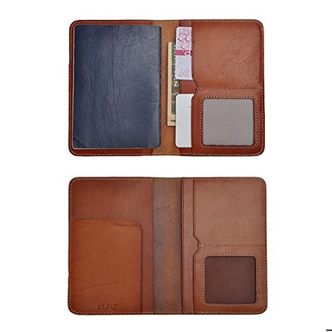 Zlyc Vintage Vegetable Tanned Leather Travel Passport Holder Case Cover Wallet (Brown)