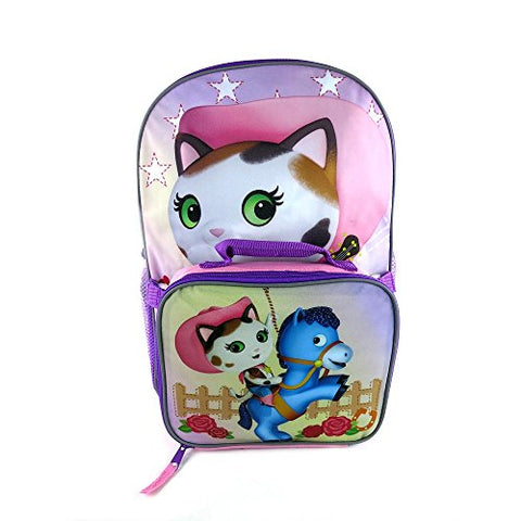 Sheriff Callie Pink And Violet 16 inch Kids Backpack & Detachable Lunch Box