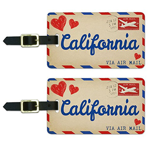 Graphics & More Air Mail Postcard Love For California Luggage Suitcase Carry-On Id Tags, White