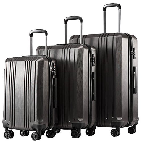Coolife Luggage Expandable Suitcase 3 Piece Set With Tsa Lock Spinner 20In24In28In (Sliver Gray4)
