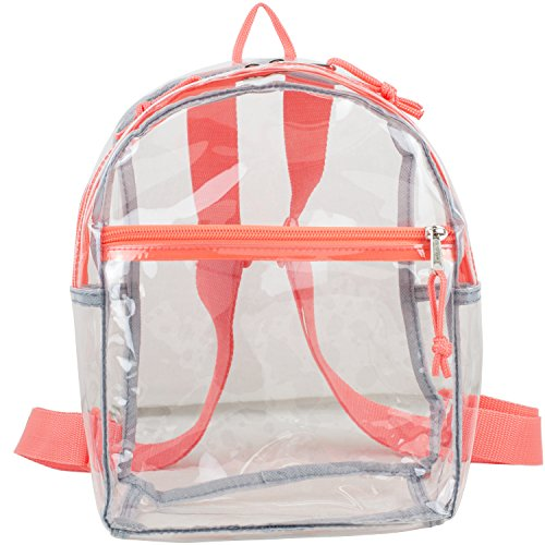 Eastsport 100% Transparent Clear Mini Backpack (10.5 By 8 By 3 Inches) With Adjustable Straps,