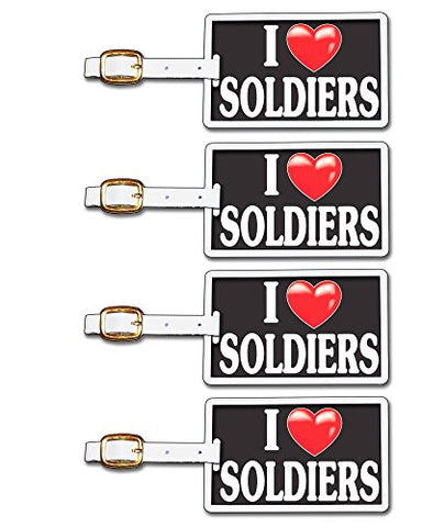 Tag Crazy I Heart Soldiers Four Pack, Black/White/Red, One Size