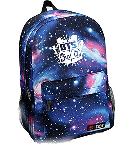 Bosunshine Kpop BTS Starry Sky Backpack Schoolbag Satchel (Blue)