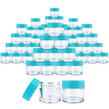 Beauticom 7 Gram / 7 ML (Quantity: 60 Pieces) Thick Wall Round Leak Proof Clear Acrylic Jars with Teal Lids for Beauty, Cream, Cosmetics, Salves, Scrubs