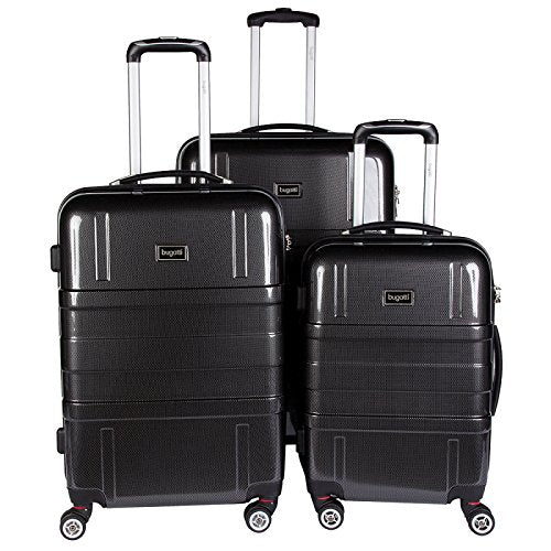 Bugatti 3 Piece Hard Luggage Set, Black, One Size