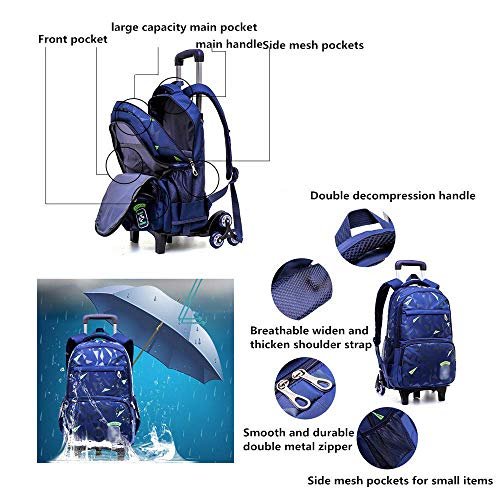 e3587c4b5694 Xhhwzb Rolling Backpack, Kids Backpack Wheeled Backpack School Backpack  With Wheels (Color : B)