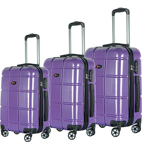 Brio Luggage TurtleShell 3 Piece Hardside Spinner Luggage Set (Light Purple)