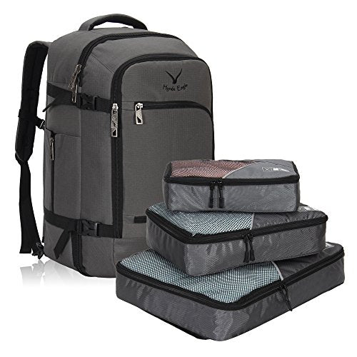Hynes Eagle Travel Backpack 40L Flight Approved Carry On Backpack, Grey With 3Pcs Packing Cubes