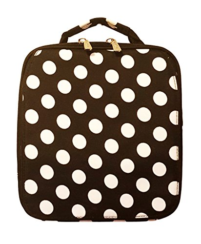 Monogrammed Black Polka Dot Back To School Lunch Tote