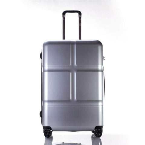 Suitcase, Lightweight, Large 28-Inch Hard-Shell Aluminum Alloy Suitcase, 4 Spinner Wheels, Abs Luggage Travel Trolley, Silver, 24 inch