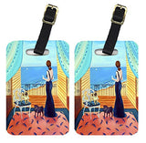 Caroline's Treasures 7133BT Lady with her Pug Luggage Tags Pair of 2, Large, multicolor