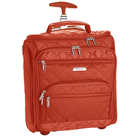 "16.5"" Underseat Women Luggage Carry On Suitcase - Small Rolling Tote Bag with Wheels (Orange)"