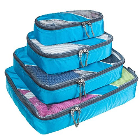 G4Free Packing Cubes 4pcs Value Set for Travel,Helpful Packing Bags(Blue)
