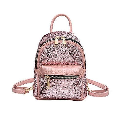 Girls Cute Sequin Mini Backpack Leather Purse Women Backpack Leather Cross Body Bag Pink