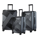 "TPRC 3 Piece ""Percy Collection"" Premium 8-Wheel Luggage Set with TSA Lock System Includes 28"" Suitcase, 24"" Upright, and 20"" Carry-On, Black Color Option"