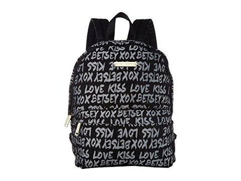 Betsey Johnson Women's Jacquard Logo Backpack Black One Size