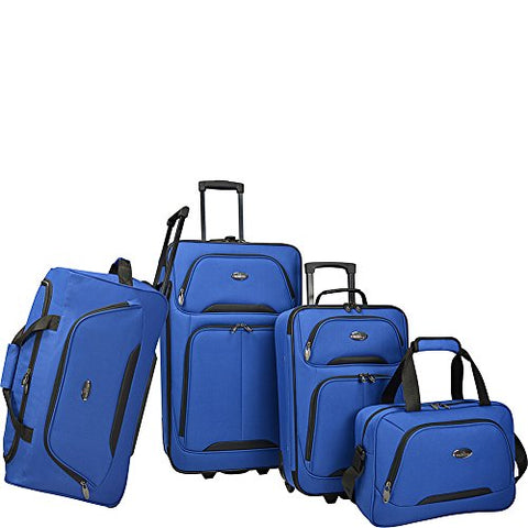 U.S. Traveler Vineyard 4-Piece Softside Luggage Set (Blue)