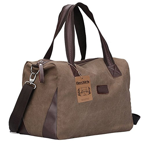 Berchirly Travel Canvas Handbag Tote Duffel Bag Carry on Bags Weekender Overnight Bag