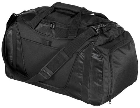 Port & Company Small Two-Tone Duffel, Black