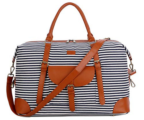 BAOSHA HB-15 OVERSIZED Travel Duffel Bag Carry on Weekender Bag Large for Women and Ladies (Blue Strips)