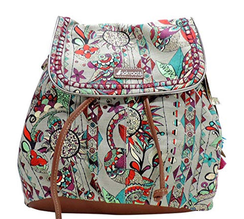 Sakroots Spirit Desert Backpack Handbag Artist Circle Grey Floral Owl Print
