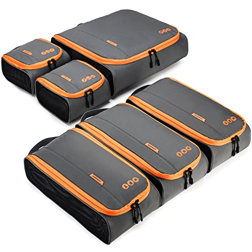 BAGSMART Travel Packing Cubes 3 Sizes Portable Luggage Organizer for Carry-on Accessories, 6 Sets
