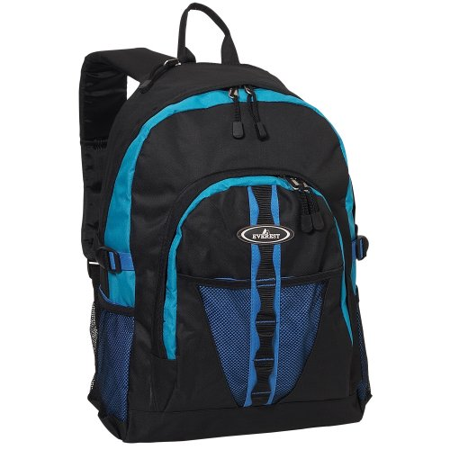 Everest Luggage Backpack With Dual Mesh Pocket, Royal Blue/Blue/Black, Royal Blue/Blue/Black, One