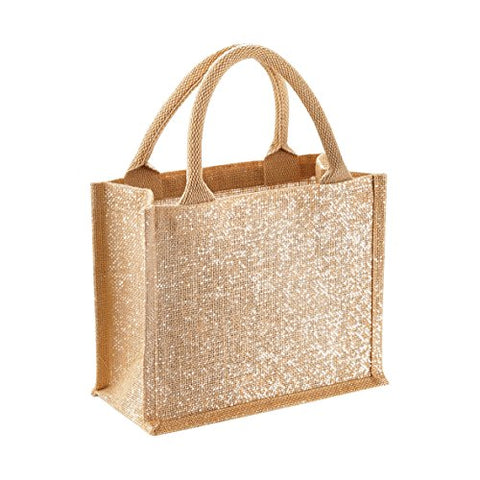 Westford Mill Shimmer Jute Mini Gift Bag - 26 X 22 X 14Cm - Natural Gold