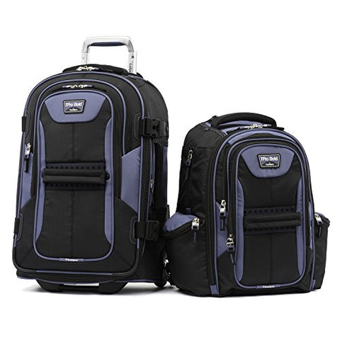 Tpro Bold 2.0 2 Piece Set (22 Inch Expandable Rollaboard + Computer Backpack), Black/Navy