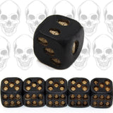 5pcs/set Black Skull Dice Grinning Skull Deluxe Devil Poker Dice Play Game Dice Tower with Death