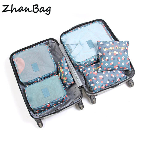 6 Pcs/ set High Quality Oxford Mesh Cloth Travel Bag Organizer Luggage Packing Cube  Organizer