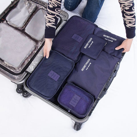 6 Pcs/set Nylon Packing Cubes Set Travel Bag Organizer Large Capacity Travel Bags Hand Luggage