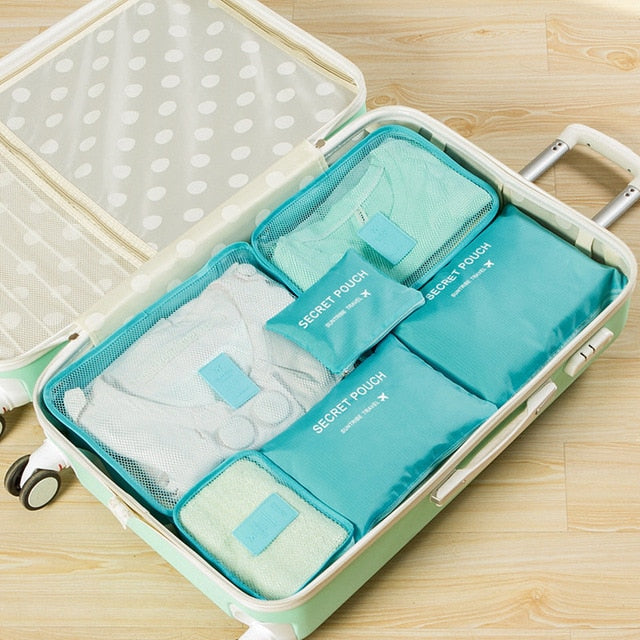 6 Pieces One Set Luggage Nylon Packing Cube Travel Bags System Durable Large Capacity of Unisex
