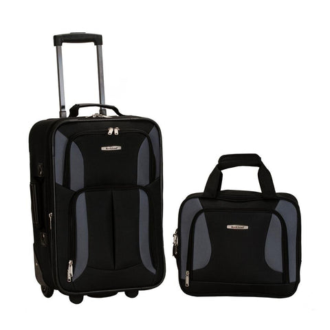 Rockland 2 PC LUGGAGE SET BLACK/GRAY