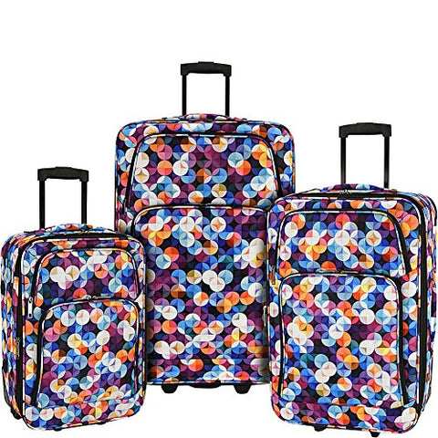 Elite Luggage Print 3 Piece Expandable Rolling Luggage Set (Gem Bubbles)